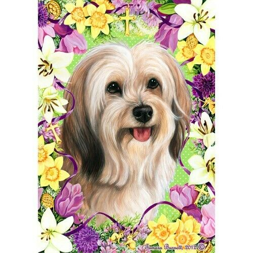 Easter House Flag - Cream Sable Tibetan Terrier 33479