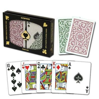 (New COPAG Burgundy Green Poker Size Regular Index Plastic Playing Cards FREE CUT)