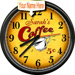 Personalized Java Espresso Retro Vintage Art Coffee Shop Diner Sign Wall Clock