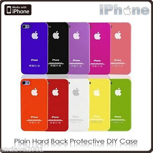 iPhone 4/4s Various Color Plain Hard Back Protective DIY Case Cover Skin G250
