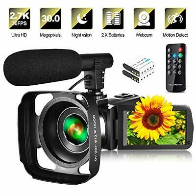 Video Camera Camcorder with Microphone & Remote 2.7K UHD 30FPS Vlogging