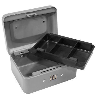 Barska 6 Inch Steel Compact Cash Box W Combination Lock In Grey Cb11782