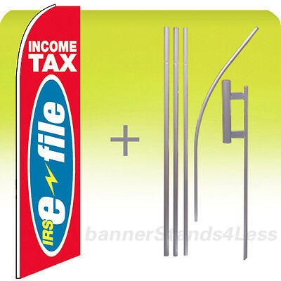 Income Tax Irs E-file - Feather Flutter Swooper Banner Sign Flag Tall 15 Kit Rb