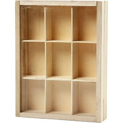 Plain Wood Wooden Storage / Display Box with Sliding Glass Lid - 9 Compartments