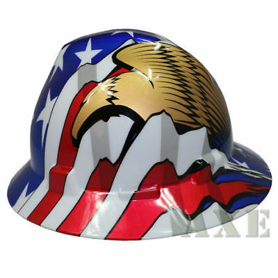 MSA Hard Hat 10071159 , Full Brim, US Flag w/ 2 Eagles ratchet suspension