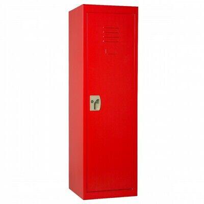 1pc Kids Storage Metal Locker With Lock Hanging Rods Single Tier Shelve Red