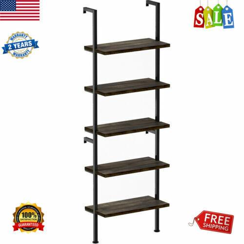 5-Tier Ladder Shelf Bookcase Wall Mount Wood Shelves Rack Bo
