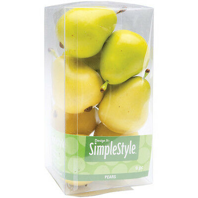 "Design It Simple Decorative Fruit 9/Pkg Yellow/Green Pears 2.1/2""x1.3/4"" RS9804"