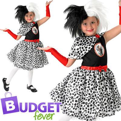 Cruella De Vil Girls Fancy Dress Disney Villain Book Day Childrens Kids Costume](Cruella De Vil Costume Kids)