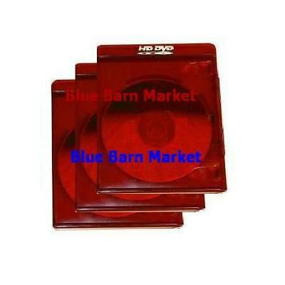 NEW! Single HD-DVD Case *3-Pack* Standard Painted Logo Design (11mm) Red