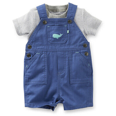 NWT - Carter's Baby Boy 2-Piece Blue Whale T-Shirt Short Overall Set (NEWBORN) 2 Piece Overall Short