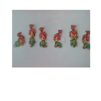 Pebbles Flintstone Fabric Applique  Baby lot of 6 iron no,sew  kid, No Sew Applique