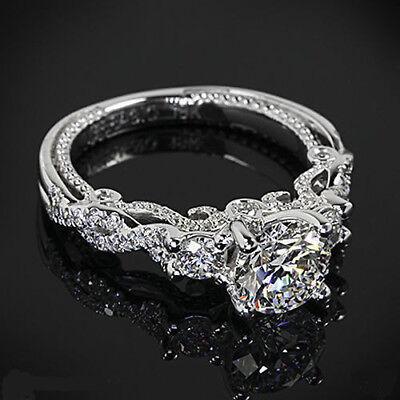 Ring - CERTIFIED VINTAGE 3.45CT WHITE ROUND CUT DIAMOND WEDDING RING IN 14KT WHITE GOLD