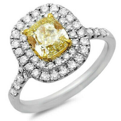 2.00 Ct Double Halo Canary Cushion Cut Diamond Engagement Ring 14K SI2 GIA