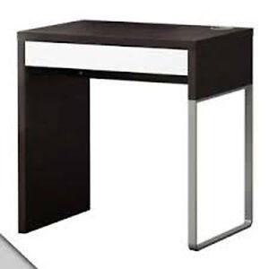 Ikea Micke desk - dark wood and white