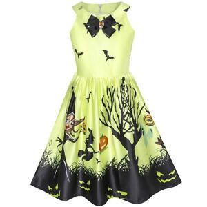 Vestito-Bambina-Halloween-Strega-pipistrello-Zucca-Costume-Cavezza-7-14-anni