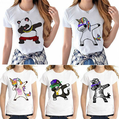 Dabbing Unicorn Women T Shirt O Neck Tops Cartoon Printed Hip Hop Tee Shirts