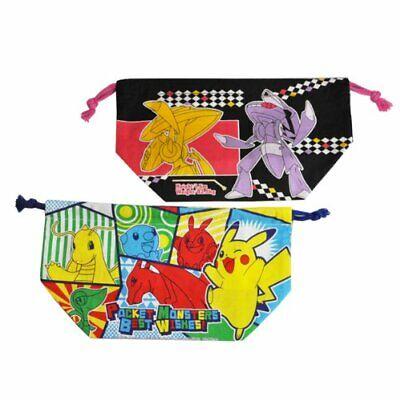 Skater Lunch Drawstring 2-Pack Pokemon Best Wishes Bento Bag Disney KB7W Made