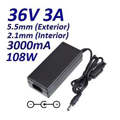 Cargador Corriente 36V 3A 3000mA 5.5mm 2.1mm Cable Alimentacion Power Supply