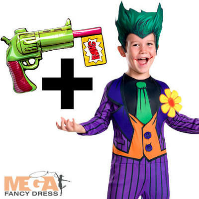 Joker + Inflatable Gun Boys Fancy Dress Batman Kids Halloween Childs Costume New
