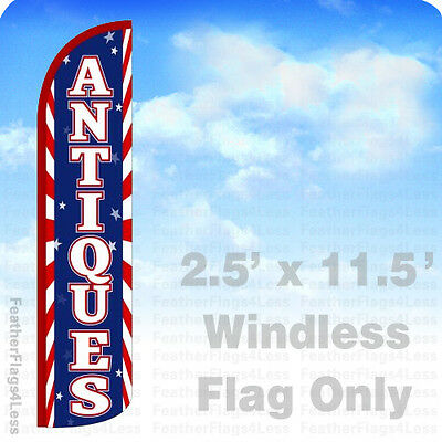 Antiques - Windless Swooper Feather Flag Banner Sign 2.5x11.5 - Red Stripes Bz