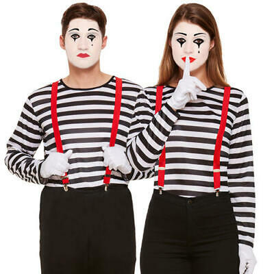 Mime Artist Adults Fancy Dress French Circus Mens Ladies Womens Costume Outfit - Mime Outfits