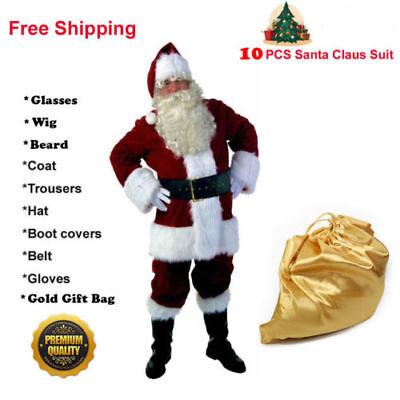 USA! Santa Claus Suit Adult Deluxe Velvet Christmas Costume Fancy Dress Full Set