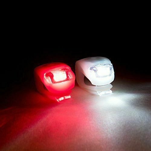 LED SILICONE MOUNTAIN BIKE BICYCLE FRONT REAR LIGHTS SET PUSH CYCLE LIGHT CLIP A