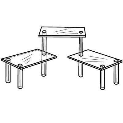 "Acrylic Tiered 3 Table Riser Figurine Display 4.5 x 9"" Shelves"