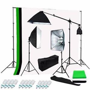 Photo Studio Video Softbox Light Lighting Kit Backdrop Éclairage Ensemble Lumière Backdrop Stand Support Fond Écran