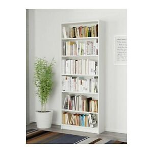 Two Large IKEA White Billy Bookcases