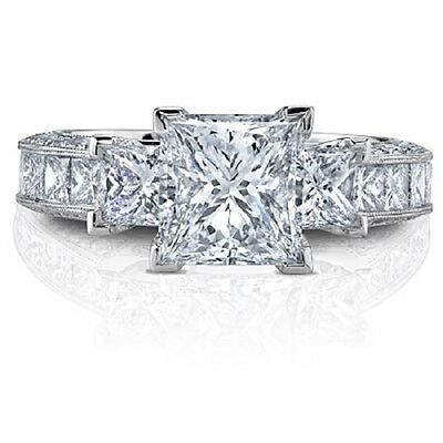 2.20 Ct Three Stone Princess Cut Diamond Engagement Ring 14K D VS1 GIA Certified