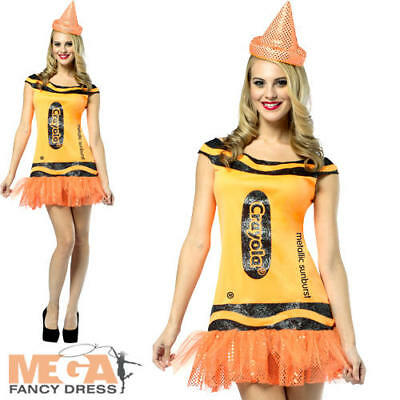 Crayola Sunburst Orange UK 8-12 Ladies Fancy Dress Crayon Book Day Adult Costume