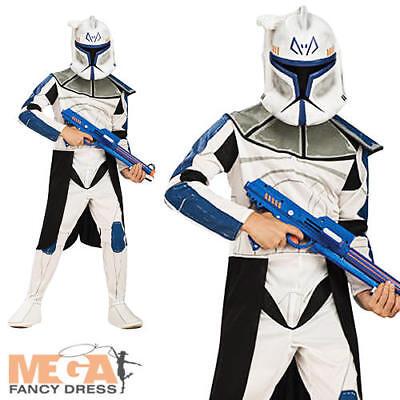 Clone Trooper Rex Star Wars Boys Fancy Dress Kids Childs Costume Outfit + Mask  ()