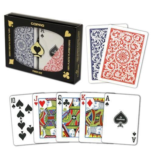 New COPAG Red Blue Poker Size Regular Index Plastic Playing Cards FREE CUT CARD