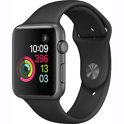Apple Watch Series 1 38mm Aluminum Casket Black Sport Band - (MP022LL/A)