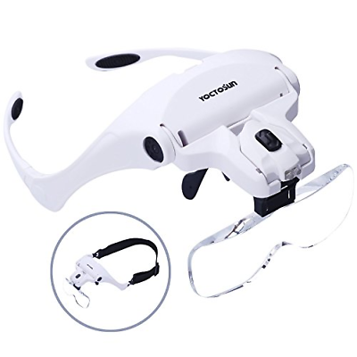 yoctosun head mount magnifier with led headlight hobby tool