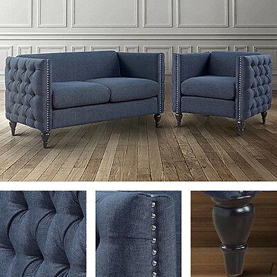 2pc Blue Living Room Set Loveseat Chair Linen Button Tufted Modern Wood Furnitur Blue Living Room Set