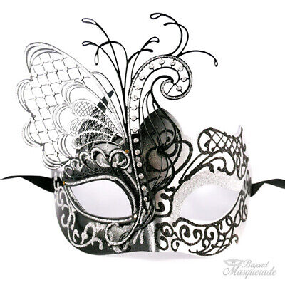Black and Silver Butterfly Venetian Metal Masquerade Mask for Women - Butterfly Masquerade Mask