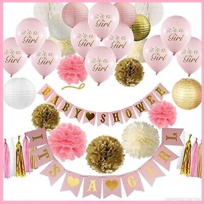 Girl Baby Shower Banner (ROSE GOLD Baby Shower Decorations Its a Girl Banner with Balloons - Pink - 70)