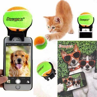 Tennis Selfie Stick Ball Phone Attachment Dog Pet Train Photos Squeaky Toy 8147