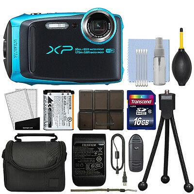 Fujifilm FinePix XP120 16.4MP Digital Camera Sky Blue Full-HD + 16GB Kit