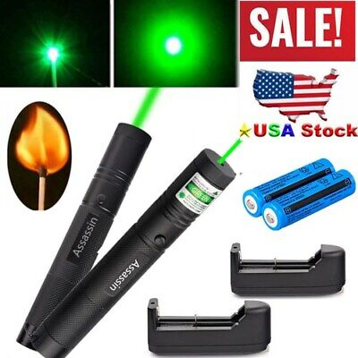2pcs 50mile Assassin Powerful Green Laser Pen 532nm Visible Beambatterycharger