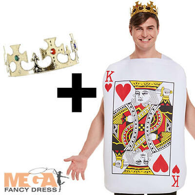 King of Hearts Playing Card + Jewelled Crown Mens Fancy Dress Fairy Tale Costume - King Of Hearts Crown
