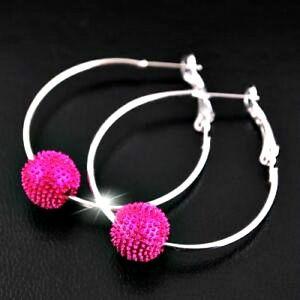 Bright-Pink-Silver-Tone-Shamballa-Style-Bead-1-Row-Hoop-Earrings-4cm-NEW