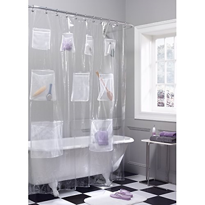 Maytex Mesh Pockets PEVA Shower Curtain Clear, 70 x 72 inche