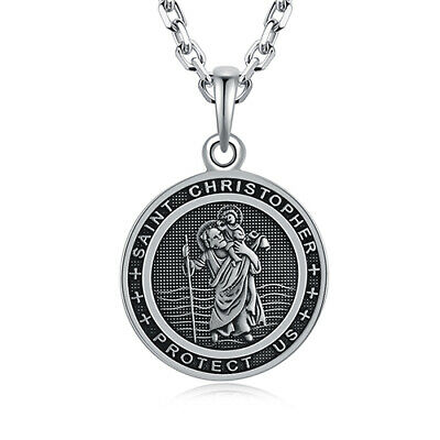 "Silver Horseshoe St Christopher Pendant 925 Hallmark 14-30/"" Length Chain"