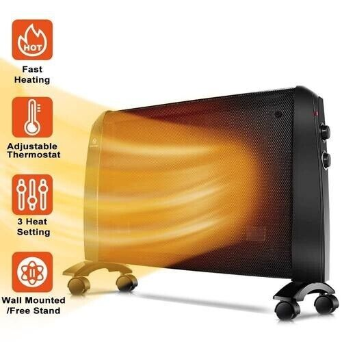 Mica Heater-1500W Mica Panel w/ Adjustable Thermostat, Overheating Auto Shut Off