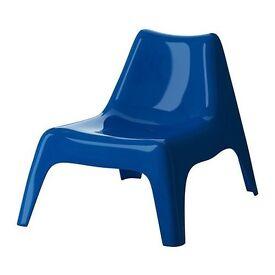 2 pcs Easy chair outdoor IKEA PS VÅGÖ blue