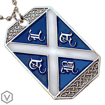 SCOTLAND FLAG PENDANT SCOTTISH HERITAGE SAINT ANDREW CROSS ALBA DOG-TAG NECKLACE